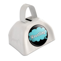 Dreaming of Wrestling Blue White Cowbell Cow Bell