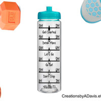 Daily Tracker Bottle with name /  Personalized Water Intake Tracker / Motivational Water Bottle / Drink Times Bottle with Name