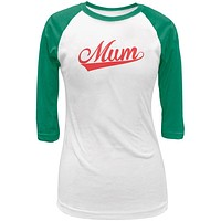 Mothers Day - Mum White/Kelly Green Juniors 3/4 Raglan T-Shirt