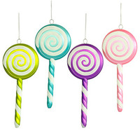 Assorted Lollipop Ornaments with White Swirl - 8 Inch: 4-Piece Box