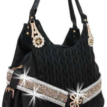 * Rhinestone Accented Chevron Quilted Fashion Handbag In Black