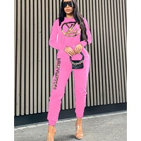 LV new women's sports suit two-piece pink