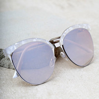 Nice Girls White Marbled Mirrored Cat-Eye Sunglasses
