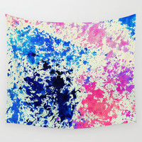 Rainbow Splash - Blue, Pink and Cream Watercolor Abstract Wall Tapestry by TigaTiga Artworks