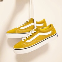 """""""Vans"""" With Warm Casual Shoes Men and women classic black cloth shoes Yellow(white line)"""