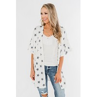 Searching For Stars Print Kimono- Ivory