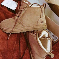 UGG New Plush Mid-Cut Couple Lace-Up Snow Boots Shoes