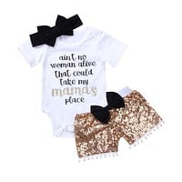 3pcs Newborn Baby Girls Boy 2018 Romper Short Sleeves Mama Bow Gold Shorts Sequins Summer Outfits Clothes Summer Set
