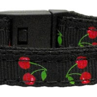 Cherries Nylon Collar Black  Cat Safety