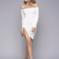 WYLDR Kali Off The Shoulder High Slit Dress