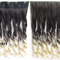 """Dip dye hairpieces New Fashion 24"""" Women Clip in on gradient wig Bath & Beauty Hair Ombre Hair Extensions Two Tone Curly Hair Gradient Hair Extension Colorful Hairpieces GS-888 2T613,1PCS"""