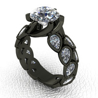 Floral Leaf Design Ring Gothic Engagement