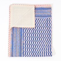 Blue on Pink Hand Block in King