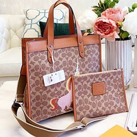 COACH Woman Shopping Bag Leather Handbag Tote Crossbody Satchel Wallet Two Piece Set