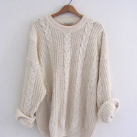 vintage white cable knit sweater. slouchy boyfriend pullover sweater / size XL