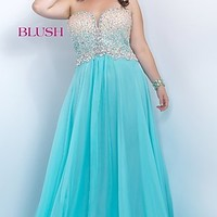 Plus Size Strapless Sweetheart Prom Dress by Blush