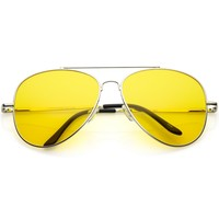 Large Classic Night Driving Aviator Sunglasse With Yellow Tinted Lens 61mm