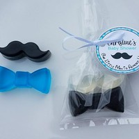 Boy Baby Shower Favor - Little Man Gender Reveal Party, Bow Tie &  Mustache Theme Custom Made Optional Tags and Bags, Pack of 10