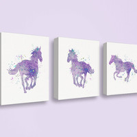 Watercolor Horse, Horse Wall Decor, Canvas Print, Set of 3 Prints, Horse Art Print, Horse Painting, Prints for Girls Room, Girl Gifts