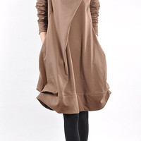 cotton pleated loose dress shirt In brown