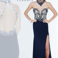 Milano Formals Jersey Fitted Navy Dress E1892