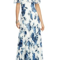 After Six Floral Chiffon Off the Shoulder Gown | Nordstrom