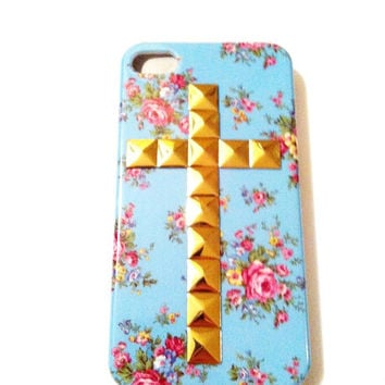 Gold Cross Studded Blue Floral Iphone 4 4S Hard Case studs