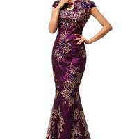 Free shipping new arrival long fashion design lace embroidered mermaid fish tail chinese style cheongsam purple evening dress 67