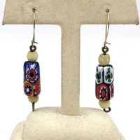 Vintage Millefiori Glass Beads Gold Filled Dangle Earrings