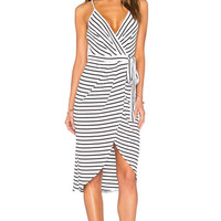 V Neck Striped Asymmetrical Dress