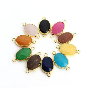 2pc Natural Stone Necklace Charms Pendant Druzy Quartz Crystal Agate Jade Bracelet Necklace Connector DIY Fashion Jewelry Making