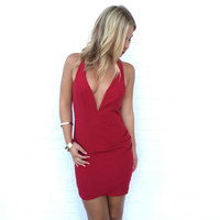 Take A Plunge Dress In Red
