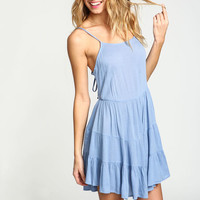 BLUE LACE UP TIERED CREPE DRESS