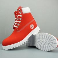 Timberland Leather Lace-Up Boot High Red White - Best Deal Online