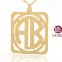 Monogram necklace--1.25 gold plated necklace--2 initial necklace square monogram necklace