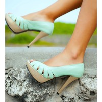 Otherwise - Mint and Gold Leather Heels