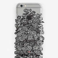 Flower Phone Case iPhone Transparent Case Floral Phone Case Black Rose Cover iPhone 6 Case iPhone 5 Clear Xpreia Case Galaxy iPhone SE Case