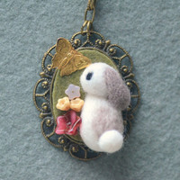 Needle felted wool bunny with butterfly necklace, handmade rabbit pendant necklace, lolita jewelry, whimsical jewelry, gift under 25