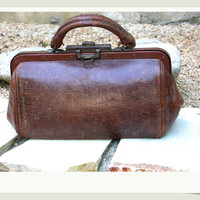 French antique hand made  brown leather doctor bag  locket  solid bronze frame