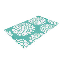 """Pom Graphic Design """"Hydrangea's Blossoms"""" Teal Circles Woven Area Rug"""