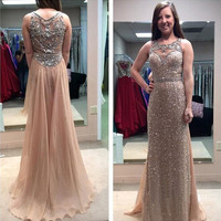 Sequins Lace 2016 Prom Dress Floor length Chiffon with Beaded Long Formal Dress APD1659