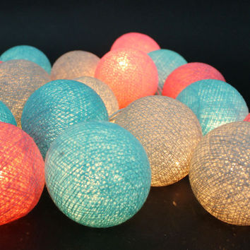 20 Lighting Gray-Turquise-Pink Cotton Ball String Lights Ideal for Christmas Lights, Party Lighting, Bedroom Decor