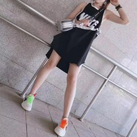 """Nike"" Women Loose Sport Casual Sequin Letter Stripe Sleeveless Vest Dress"