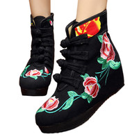 Four Shoelace Vintage Beijing Cloth Shoes Embroidered Boots   black with cotton  35