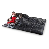 """Ozzie and Harriet 80x66"""" Double Sleeping Bag, Black - 591254, Rectangle Bags at Sportsman's Guide"""