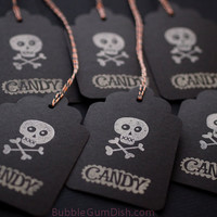 Candy Skull Halloween Hang Tags Gift Tags Black 3x5 Set of 6 Hand Stamped Large