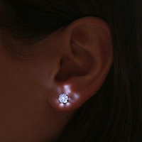 Stainless LED Crystal Earring Glowing Light Up Ear Stud For Female + Gift Box