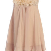 Girls Champagne Chiffon Shift Dress with Flower Trim 2T-14