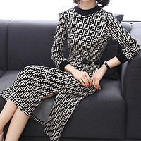 FENDI Autumn Winter Trending Women Stylish Long Sleeve Knit Round Collar Dress