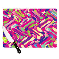 """Dawid Roc """"Colorful Movement"""" Pink Abstract Cutting Board"""
